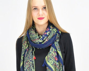 Floral Green Blue Scarf / Summer Scarf / Spring Scarf / Autumn Scarf / Womens Scarves / Scarves and Wraps / Gifts for her / Handmade Scarves
