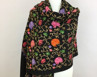 Black Shawl Wrap, Floral Embroidered Shawls, Spring Summer Scarf, Women Shawl, Oversized, Gift For Her, Blanket, Shawls and Wraps, Handwoven