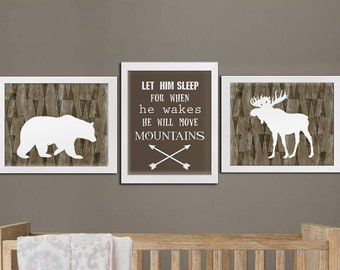 Boy nursery printable bear moose woodland art set, boys room woodland printable art, playroom rustic woodland wall decor download
