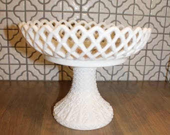 Vintage Pedestal Milk Glass Bowl