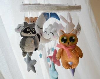Baby mobile. Animals mobile. Moon mobile. Can. Rabbit. Racoon. Bear mobile. Nursery mobile. Baby crib mobiles