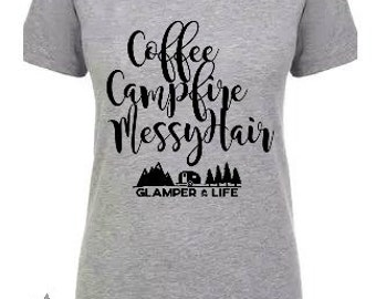 GLAMPER LIFE Comfy Women's V-Neck Shirt | Coffee Campfire Messy Hair | Camping GLAMPING Gift