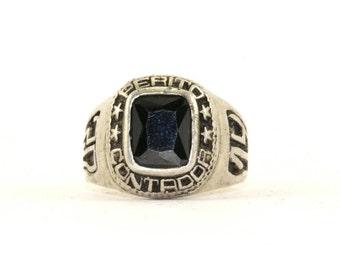 Vintage 2014 Perito Contador Black Crystal School Ring 925 Sterling Silver RG 2370