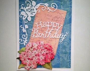 Handmade birthday cards, birthday card flowers, layered birthday card, handmade greeting cards birthday, 3D handmade card, 3D cards birthday