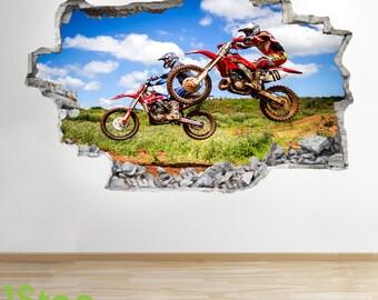 Motorbike Wall Sticker 3d Look - Boys Kids Bedroom Extreme Sport Wall Decal Z109
