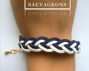 Suede Navy Blue & white adjustable bracelet