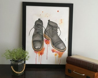 Black Boots, Original painting, Watercolor painting, home decor, framed art