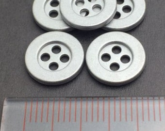 25 Pcs, 18L(Diameter 11mm) 4 hole Metal Vintage Sew On Button, Central Concave, Matt Silver Finish