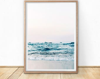 Ocean Wave Print - Blue Sea Wall Art, Digital Print, Coastal Print, Beach Decor, Sea Printable, California Photo, Scandinavian Wall Art