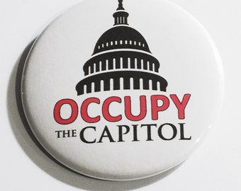 Occupy the Capitol - political protest pin back button