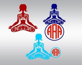 Yoga mandala svg, Yoga svg, Yoga pose svg, Pilates svg, Namaste svg, Meditation svg, Cricut, Cameo, Cut file, Clipart, Svg, DXF, Png, Eps