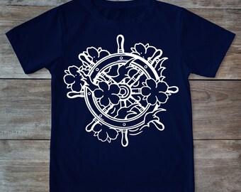 Helm shirt, sailing shirt, sailor shirt, sail boat, tattoo shirt, classic tattoo art, old school shirt, hipster gift, gift for tattoo lovers