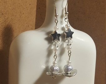 Silver Stars and Planets Earrings, Space Earrings, Beaded Long Dangly Earrings.