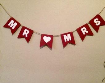 MR & MRS Banner - Wedding Banner - Party Banner - Home Decor