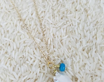 Natural Jumbo Pearl with Blue Amazonite Necklace/Free Shipping!