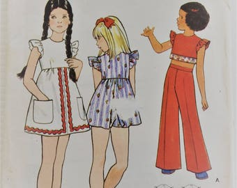 Butterick vintage sewing pattern 3098 - girls' dress, playdress, top, pants and shorts