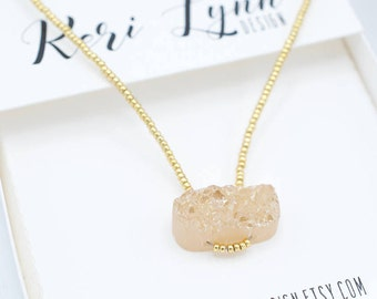 Druzy Quartz Necklace 15""