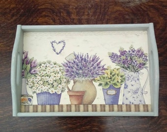 Shabby chic tray with garden pots, kitchen decor, wooden, tea tray, display tray, wall ornament, decoupage