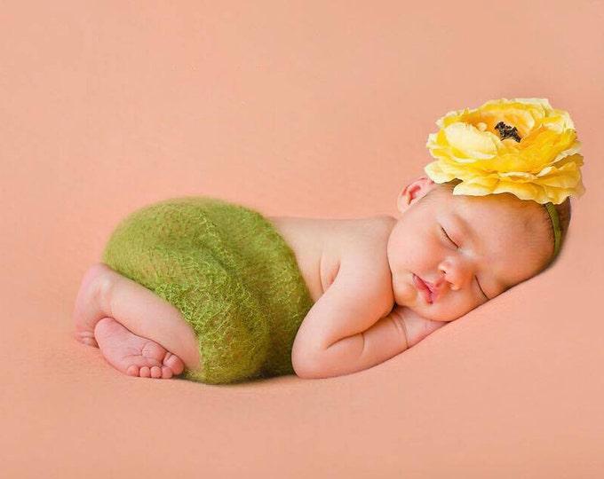 Yellow Baby Girls Flower Hair clip, photography prop, birthday headband, baby hair clip, baby bows, headband, mustard, large yellow bows