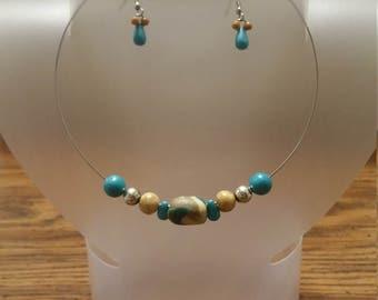 Aqua and beige clay choker/earring set