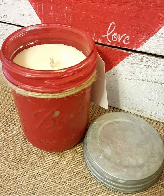 Painted Mason Homemade Soy Candle - Strawberry Rhubarb