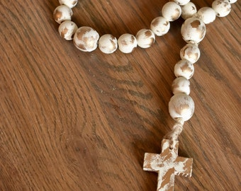 Decorative White and Gold Wooden Bead Rosary-FREE SHIPPING