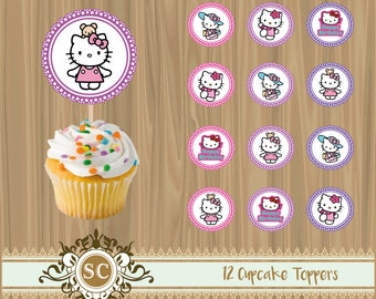 12 Hello Kitty Cupcake Toppers Printable Instant Download