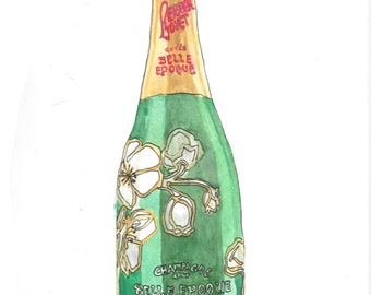 Perrier-Jouet Champagne bottle life drawing painted in watercolor on paper