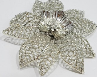 Beautiful Silver Tone Over-sized Flower Brooch by Emmons