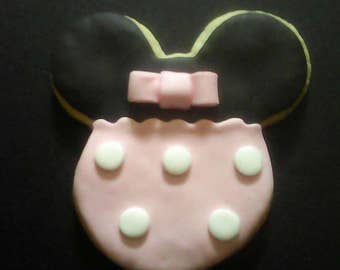12 Pale Pink Minnie Mouse Cookies Party Favors Kid's Birthday Baked Goods Sugar Cookies Handmade Cookies Decorated Cookies Cookie Gifts