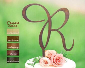 Letter R cake topper, Wood initial cake topper, Cake Topper Initials, Cake Topper Wood Monogram, wedding cake topper single letter r, CT#084