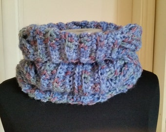 LOOP, circle scarf in blue DENIM, Capelet, circle scarf, wool scarf, less loop, Loopschal, scarf, Unisexschal