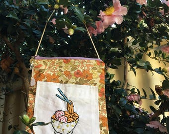 Embroidered Noodle Bag