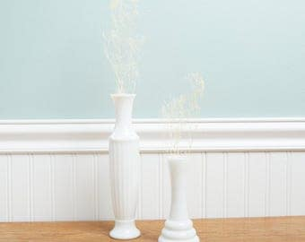 2 Milk Glass Bud Vases | Single Flower Vase | White Wedding Cottage Decor | Vintage Vase | Milk Glass | Farmhouse |Shabby