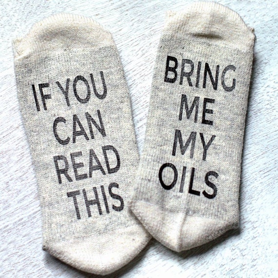 If You Can Read This Bring Me My Oils Socks - Essential Oil Socks - Essential Oil Gift - Grey & White with Red Stripe