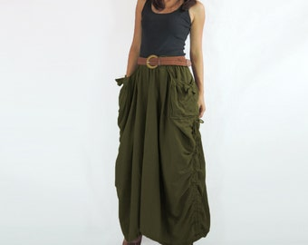 Olive Green Long Skirt with Big Pockets and Belt Loops - SK004
