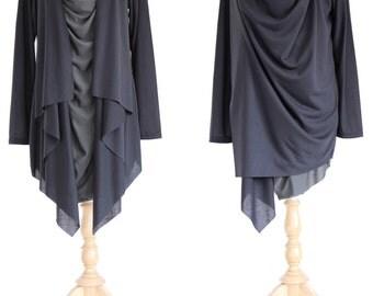 Women Black Gray Long Sleeves Wrap Tunic Asymmetrical Layered Tunic Top Long Slouchy Wrap Cardigan / Layered Tops Light Jacket - 11196