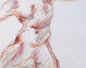 Pastel drawing, original on white A4 paper, naked men, nude drawing, sketch by Eugène DELACROIX
