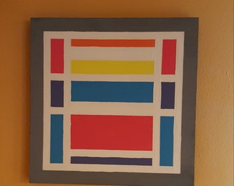 Squares - Mid century modern art 12x12 Original painting by Enzo in 2017