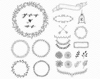 Hand Drawn Floral Wreath SVG- Laurel Elements Download- Wreath SVG, dxf, eps, png image- Cameo or Cricut-Hand drawn wreath & arrows, ribbons