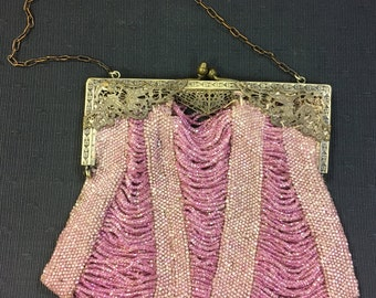Vintage Pink 1920s Flapper Purse with Gorgeous Brass Frame - As Is