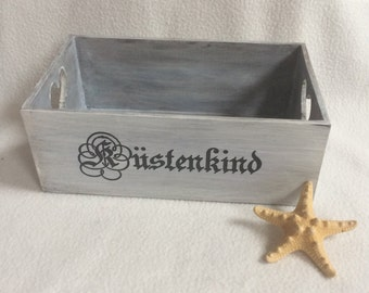 maritime wood crate, Coast child, small wooden box, wooden box Shabby Chic