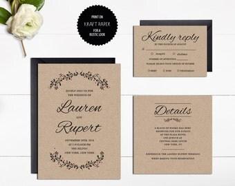 Vintage Wedding Invitation, Printable Wedding Invitations,Kraft Wedding Invitation, 3-Piece Suite, Editable Text,Wedding Invitation Template