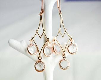 Boucles d'oreille ethniques - bijoux or rose - bijou femme - bijou pour elle élégant et discret - bijou fin et délicat - cadeau parfait