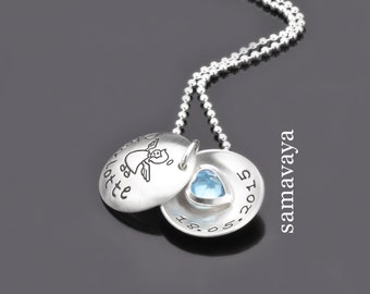 Christening necklace with engraving SCHUTZENGELCHEN blue heart 925 Silver name necklace baby baptism jewelry