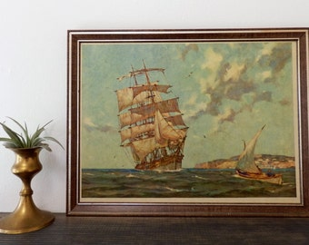 Vintage Ship at Sea Art Print, Nautical Art, Beach House Decor, Sailing, Ocean Art, Boho Decor