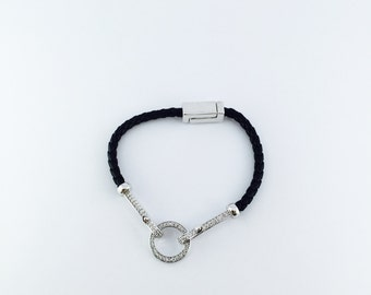 Braided Leather Bracelet,Black Leather Charm Bracelet,Women Bracelet,White Gold Charm with CZ,Magnetic Clasp Bracelet,Friendship Bracelets