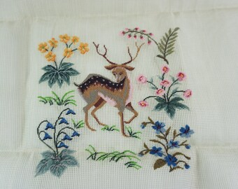 """Four Wives Inc., Needlework, Deer, Floral Needlepoint, Vintage Sewing, Pre-worked Needlepoint Canvas, 27"""" x 27"""" For  Pillows Footstool Chair"""