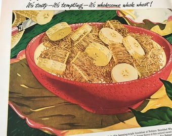 Vintage 1940's large Magazine Ad NABISCO Shredded wheat cereal ad red yellow breakfast bowl kitchen wall art decor retro food art