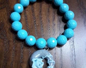 Blue Charm bracelet handmade fimo